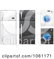 Royalty Free Vector Clip Art Illustration Of A Digital Collage Of Refrigerators And Washing Machines