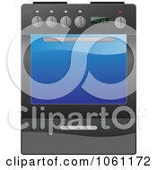 Royalty Free Vector Clip Art Illustration Of A Black Kitchen Range Oven With A Glass Door
