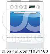 Royalty Free Vector Clip Art Illustration Of A White Kitchen Range Oven With A Glass Door