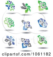 Green Blue And Gray Abstract Logos 7 Digital Collage Royalty Free Vector Clip Art Illustration