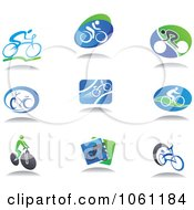 Digital Collage Of Cyclist Logos Royalty Free Vector Clip Art Illustration by Seamartini Graphics