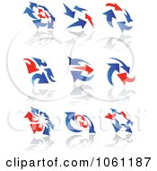 Digital Collage Of Blue And Red Arrow Logos Royalty Free Vector Clip Art Illustration