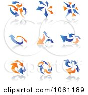 Digital Collage Of Blue And Orange Arrow Logos Royalty Free Vector Clip Art Illustration