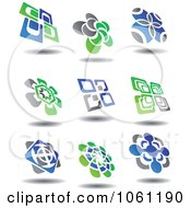 Green Blue And Gray Abstract Logos 8 Digital Collage Royalty Free Vector Clip Art Illustration
