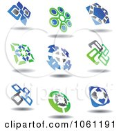 Green Blue And Gray Abstract Logos 6 Digital Collage Royalty Free Vector Clip Art Illustration