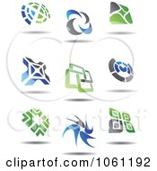 Green Blue And Gray Abstract Logos 1 Digital Collage Royalty Free Vector Clip Art Illustration