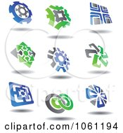 Green Blue And Gray Abstract Logos 5 Digital Collage Royalty Free Vector Clip Art Illustration