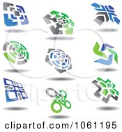 Green Blue And Gray Abstract Logos 10 Digital Collage Royalty Free Vector Clip Art Illustration
