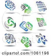 Green Blue And Gray Abstract Logos 9 Digital Collage Royalty Free Vector Clip Art Illustration