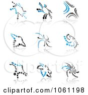 Digital Collage Of Blue And Black Dotted Abstract Logos 4 Royalty Free Vector Clip Art Illustration