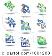 Green Blue And Gray Abstract Logos 3 Digital Collage Royalty Free Vector Clip Art Illustration by Vector Tradition SM