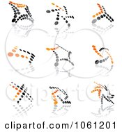 Digital Collage Of Orange And Black Dotted Abstract Logos Royalty Free Vector Clip Art Illustration