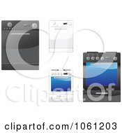 Royalty Free Vector Clip Art Illustration Of A Digital Collage Of Ovens