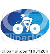 Blue And White Cyclist Logo 6 Royalty Free Vector Clip Art Illustration
