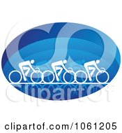 Blue And White Racing Cyclists Logo Royalty Free Vector Clip Art Illustration