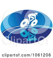 Blue And White Cyclist Logo 7 Royalty Free Vector Clip Art Illustration