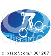 Blue And White Mountain Biker Cyclist Logo Royalty Free Vector Clip Art Illustration