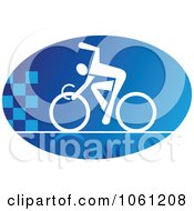 Blue And White Cyclist Logo 3 Royalty Free Vector Clip Art Illustration