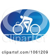 Blue And White Cyclist Logo 4 Royalty Free Vector Clip Art Illustration