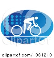 Blue And White Cyclist Logo 1 Royalty Free Vector Clip Art Illustration