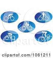 Digital Collage Of Blue And White Cyclist Logos 1 Royalty Free Vector Clip Art Illustration