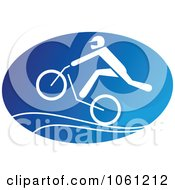 Blue And White Cyclist Logo 5 Royalty Free Vector Clip Art Illustration