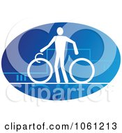 Blue And White Cyclist Logo 2 Royalty Free Vector Clip Art Illustration