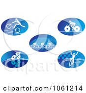 Digital Collage Of Blue And White Cyclist Logos 2 Royalty Free Vector Clip Art Illustration