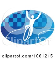 Blue And White Cyclist Logo 8 Royalty Free Vector Clip Art Illustration