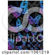 Royalty Free Vector Clip Art Illustration Of A Background Of Gray Pink And Blue Butterflies On Black 1