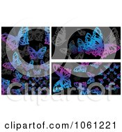 Royalty Free Vector Clip Art Illustration Of A Digital Collage Of Backgrounds Of Gray Pink And Blue Butterflies On Black