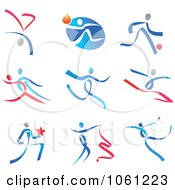 Digital Collage Of Abstract Dancer Logos 2 Royalty Free Vector Clip Art Illustration