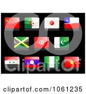 3d Shiny China Algeria Japan Chile Jamaica Tunisia Islam United Arab Or Syria Laos Nigeria And Vietnam Flag Icons
