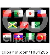 Royalty Free Vector Clip Art Illustration Of 3d Shiny China Algeria Japan Chile Jamaica Tunisia Islam United Arab Or Syria Laos Nigeria And Vietnam Flag Icons by Vector Tradition SM