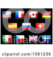 Royalty Free Vector Clip Art Illustration Of 3d Shiny American French Canadian German Spanish Russian Swiss Italian Sarawak United Kingdom And Sweden Flag Icons