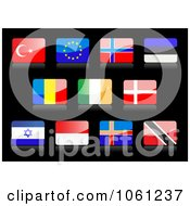Royalty Free Vector Clip Art Illustration Of 3d Shiny Turkey Europe Finland Estonia Romania Ireland Denmark Israel Indonesia Iceland Trinidad And Tobago Flag Icons