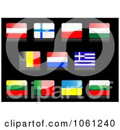 Royalty Free Vector Clip Art Illustration Of 3d Shiny Austria Finland Poland Hungary Belgium Netherlands Greece Lithuania Portugal Ukraine And Bulgaria Flag Icons by Vector Tradition SM