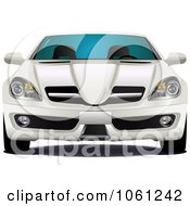 Royalty Free Vector Clip Art Illustration Of A Front View Of A 3d White Car 2 by Seamartini Graphics