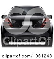 Royalty Free Vector Clip Art Illustration Of A Rear View Of A 3d Black Car With Tinted Windows