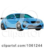 Royalty Free Vector Clip Art Illustration Of A Sporty Blue 3d Car With A Spoiler by Vector Tradition SM