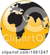 3d Black And Yellow Shiny Globe Of Europe And Africa