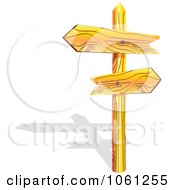 Royalty Free Vector Clip Art Illustration Of 3d Wooden Arrow Directional Signs On A Post With A Shadow