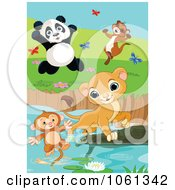Clipart Lion Saving A Drowning Monkey Panda And Ferret Celebrating Royalty Free Animal Vector Illustration