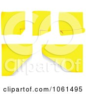 Royalty Free Vector Clip Art Illustration Of A Digital Collage Of 3d Yellow Sticky Notes With Turning Corners