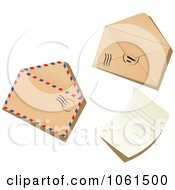 Royalty Free Vector Clip Art Illustration Of A Digital Collage Of 3d Post Marked Envelopes And A Letter by Vector Tradition SM