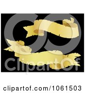 Royalty Free Vector Clip Art Illustration Of A Digital Collage Of Two Golden Wavy Ribbon Banners 3