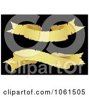 Royalty Free Vector Clip Art Illustration Of A Digital Collage Of Two Golden Wavy Ribbon Banners 2