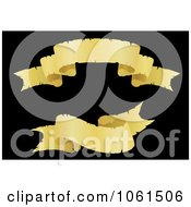 Royalty Free Vector Clip Art Illustration Of A Digital Collage Of Two Golden Wavy Ribbon Banners 1