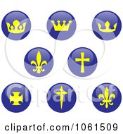 Royalty Free Vector Clip Art Illustration Of A Digital Collage Of Shiny Blue And Yellow Crown Fleur De Lis And Cross Buttons