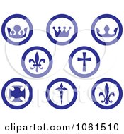 Royalty Free Vector Clip Art Illustration Of A Digital Collage Of Blue And Whi8te Crown Fleur De Lis And Cross Buttons